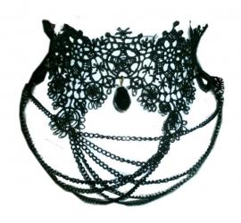 Spider's Web - zwarte gothic kanten choker
