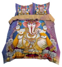 Dekbedovertrek met twee kussenhoezen - Ganesha blauw paars goud - 200 x 200 cm