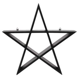 Pentagram display wandplankGothic Wicca woondecoratie - 40 x 40 x 7 cm