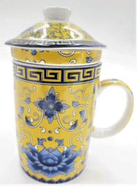 Driedelige porseleinen theemok - 14 x 7 cm - Geel met blauwe lotus