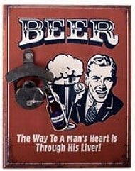 Beer bottle opener  - a man's heart - 23 x 18 cm