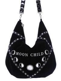 Restyle zwarte fluwelen Wicca Bohemian schoudertas Moon Child