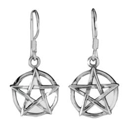 925 Sterling zilveren hangoorbellen pentagrammen pentakels 15 mm