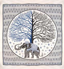 Bedsprei wandkleed grand foulard olifant en boom - 210 x 220 cm