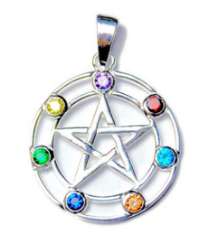 925 zilveren kettinghanger pentagram met chakrastenen - 3.5 cm doorsnee