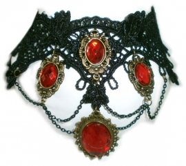 Red Passion - zwarte Gothic kanten choker met rhinestones