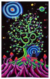 Bedsprei Wandkleed Goa Style UV Blacklight Polyester – OHM Boeddha Levensboom Paddenstoelen – 180 x 110 cm