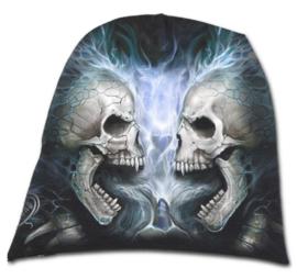 Spiral Direct - Flaming Spine - twee rokende  doodskoppen - katoenen muts - beanie