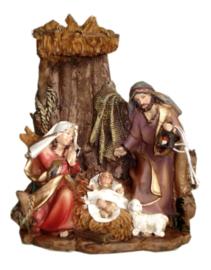 Polystone Kerststuk Jezus Christus Maria Jozef schaap - 16 cm hoog