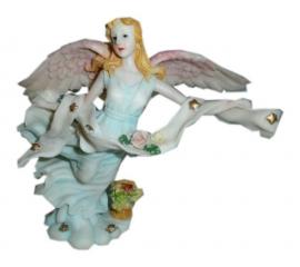 Vliegende engel op wolk