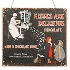 Metalen wandbord - Chocolate Town - 20 x 25 cm