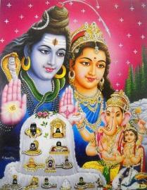 Hindu poster Shiva Parvati Ganesha Kartikeya 1 - 23 x 29 cm