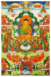 Tibetaanse thanka Shakyamuni Amitabha Boeddha - 60 x 90 cm