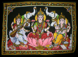 Indiase Hindu god wandkleed Lakshmi Ganesha Saraswati 40 x 55 cm