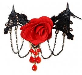 Rose of the Vampire - zwarte Gothic kanten choker