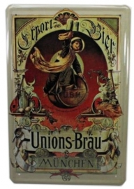 Blikken metalen wandbord Union's Brau 20 x 30 cm