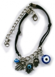 Kabbalah Evil Eye black silk cord bracelet with 5 charms