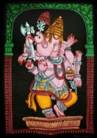 Indiase muurkleed wandkleed Ganesha dansend gekleurd dessin 2 - c.a.  80 x 110 cm