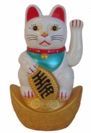 Maneki Neko - Gelukskatje - wit - 11.5 cm hoog