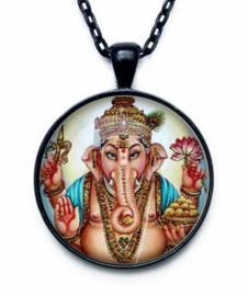Glazen hanger met ketting Ganesha dessin 5