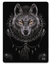 Spiral Direct - Wolf Dreams - fleece deken met dessin van een wolf in een droomvanger - 150 x 200 cm