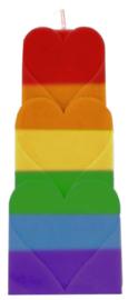 Super Mirthe's Lichtpuntjes - Regenboog- Chakra kaars 3 Hartjes