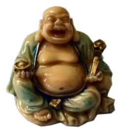 Happy buddha gekleurde polyresin