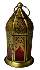 Lantaren rood glas - 8 x 14 cm