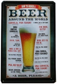 Tin sign wandbord How to order a Beer 2 20 x 30 cm