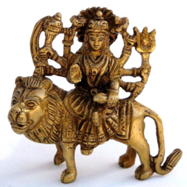 Durga - messing beeld - 9 x 10 cm