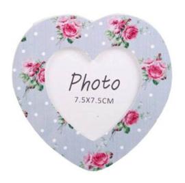 Hartvormige mini fotolijst met bloemen - lila