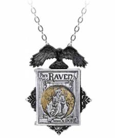 Alchemy Gothic medallion - Poe's Raven Locket - boek Edgar Allan Poe met raaf - 6 x 4.4 cm