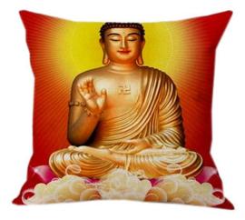 Kussenhoes Boeddha oranje - 45 x 45 cm