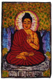 Batik wandkleed van Nepal - Boeddha - 60 x 90 cm