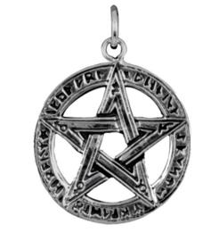 925 Sterling zilveren kettinghanger pentagram met mystieke symbolen - 2,9 cm doorsnee