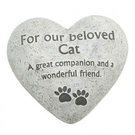 Hartvormige grafsteen kat - 15 x 15 cm