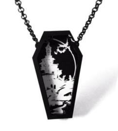 Curiology nekketting doodskist vleermuizen vampierkasteel - Death by Dawn - 7 cm hoog