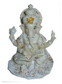 ganesha beeld wit met glitter 16 cm hoog