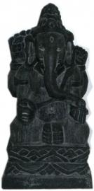 Zwarte stenen Ganesha 12 cm hoog