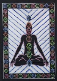 Muurkleed Wandkleed Katoen uit India - Chakra Boeddha Blauw - 80 x 110 cm