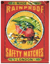 Blikken metalen wandbord Safety Matches 15 x 19 cm