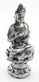Zilverkleurige Quan Yin beeld - kunsthars - 16 cm hoog