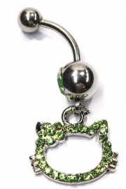 Navelpiercing strass Kitty - 3.5 cm lang - groen
