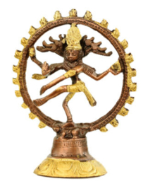 Beeld Shiva Nataraja tweekleurige messing - 10 cm hoog