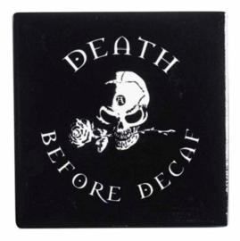 Alchemy of England keramieke onderzetter - Death Before Decaf - 9.3 x 9.3 cm