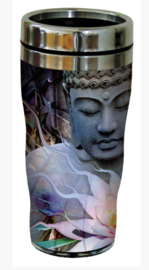 RVS Thermos reisbeker - Boeddha met Lotus - Living Radience - 19,5 cm - 47 cl