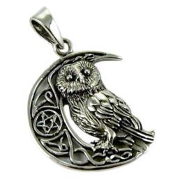 925 zilveren kettinghanger Owl Moon - dessin Lisa Parker 3.2 cm hoog