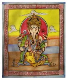 Indiase katoenen bedsprei wandkleed Ganesha gekleurd - 210 x 240