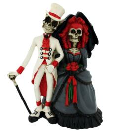 Forever by your side - huwelijkspaar met skeletten  - 13 cm hoog
