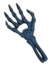 Alchemy England The Vault - flesopener - skeletaal hand - 29 cm lang - zwart